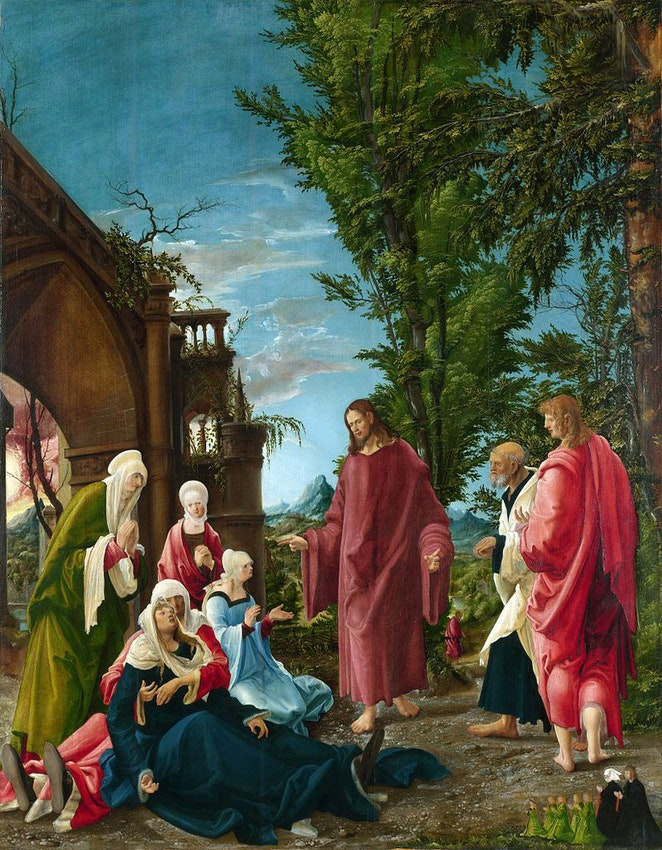"Albrecht Altdorfer Christ Taking Leave of His Mother) caption={Albrecht Altdorfer, *Christ Taking Leave of His Mother*, ca. 1520 — <a href=""https://en.wikipedia.org/wiki/Christ_taking_leave_of_his_Mother#/media/File:Albrecht_Altdorfer,_Christ_Taking_Leave_of_His_Mother_(probably_1520).jpg"">Source</a>"