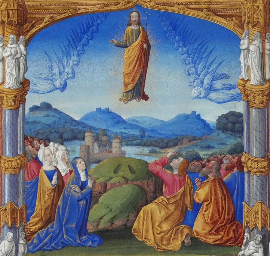 "Très Riches Heures du duc de Berry Ascension) caption={Detail from ""The Ascension"" (folio 184r) from the *Très Riches Heures du duc de Berry*, ca. 1412 — <a href=""https://commons.wikimedia.org/wiki/File:Folio_184r_-_The_Ascension.jpg"">Source</a>"