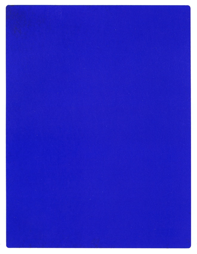 "Yves Klein blue IKB 191) caption={Yves Klein, *IKB 191*, 1962, one of a number of works Klein painted with International Klein Blue — <a href=""https://commons.wikimedia.org/wiki/File:IKB_191.jpg"">Source</a> (Not public domain)"