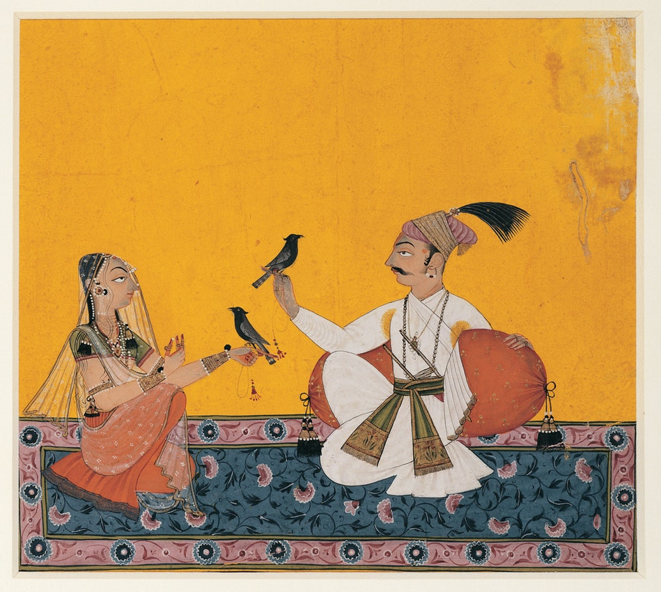 "Kausa Ragaputra Indian Yellow) caption={Ragamala Rajput painting from northern India, ca. 1700, displaying heavy use of ""Indian yellow"" — <a href=""https://commons.wikimedia.org/wiki/File:Kausa_Ragaputra.jpg"">Source</a>"