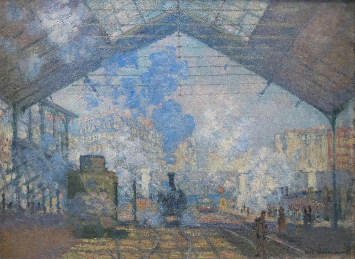 """La Gare Saint Lazare Claude Monet) caption={Claude Monet, *La Gare Saint-Lazare*, 1877 — <a href=""""https://commons.wikimedia.org/wiki/File:La_Gare_Saint-Lazare_-_Claude_Monet.jpg"""">Source</a>"""