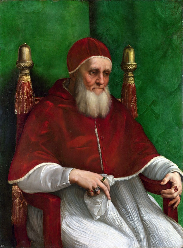 "Raphael Pope Julius) caption={Raphael, *Portrait of Pope Julius II*, 1511 — <a href=""https://commons.wikimedia.org/wiki/File:Pope_Julius_II.jpg"">Source</a>"
