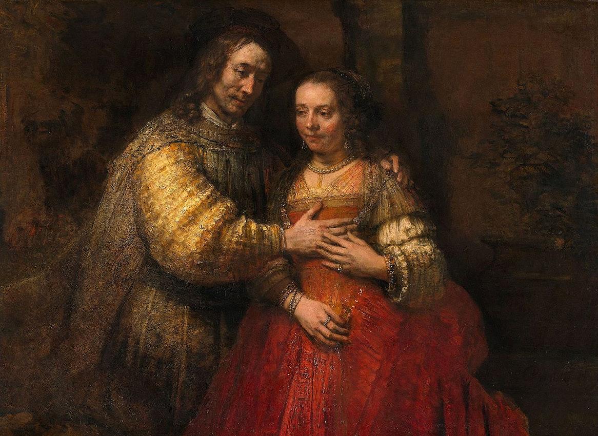 """Rembrandt Jewish Bride) caption={Rembrandt Harmensz. van Rijn, *Portrait of a Couple as Isaac and Rebecca* (known as *The Jewish Bride*), ca. 1665 — <a href=""""https://commons.wikimedia.org/wiki/File:Rembrandt_Harmensz._van_Rijn_-_Portret_van_een_paar_als_oudtestamentische_figuren,_genaamd_%27Het_Joodse_bruidje%27_-_Google_Art_Project.jpg"""">Source</a>"""
