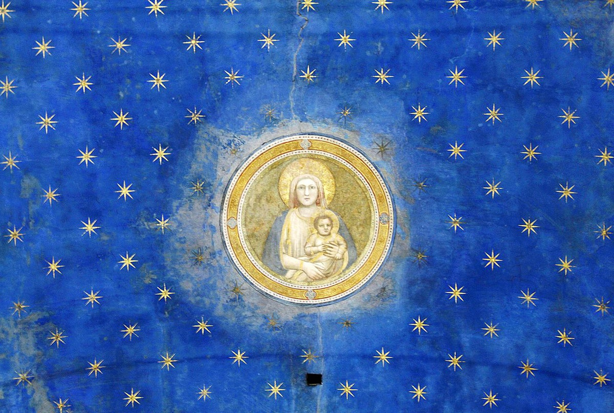 "Virgin Mary and stars Arena Chapel in Padua Giotto) caption={Detail featuring the Virgin Mary, from the ceiling of the Capella degli Scrovegni (Arena Chapel), in Padua, magnificently adorned with Giotto frescoes in ca. 1305. For the luminous blue throughout Giotto made use of ultramarine, which, due to its chemistry and expense, had to be applied on top of the already-dry fresco (*fresco secco*) — <a href=""https://commons.wikimedia.org/wiki/File:Virgin_Mary_-_Ceiling_-_Capella_degli_Scrovegni_-_Padua_2016.jpg"">Source</a> (Photo: José Luiz Bernardes Ribeiro, [CC BY-SA 4.0](https://creativecommons.org/licenses/by-sa/4.0/))"