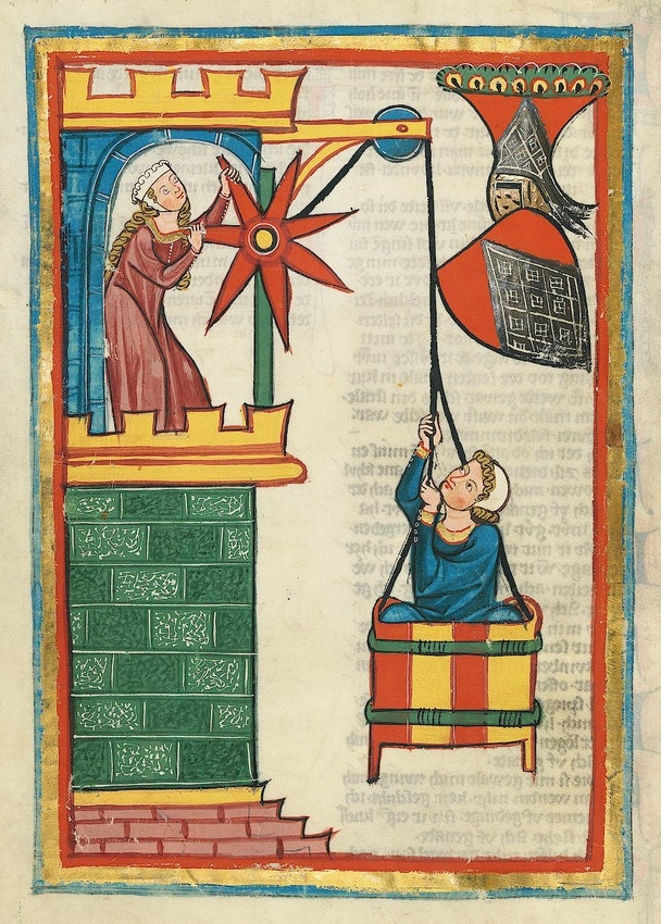 "Codex Manesse red lead miniature) caption={Illustration for the poet Herr Kristan von Hamle (folio 71v), from the Codex Manesse, an early 14th-century poetry anthology produced in Zurich — <a href=""https://digi.ub.uni-heidelberg.de/diglit/cpg848"">Source</a>"