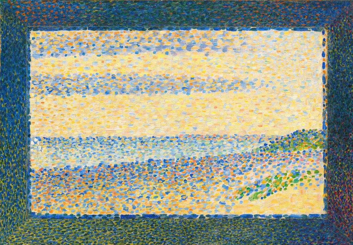 "Seurat Seascape Gravelines) caption={Georges Seurat, *Seascape (Gravelines)*, 1890 — <a href=""https://www.nga.gov/collection/art-object-page.157929.html"">Source</a>"