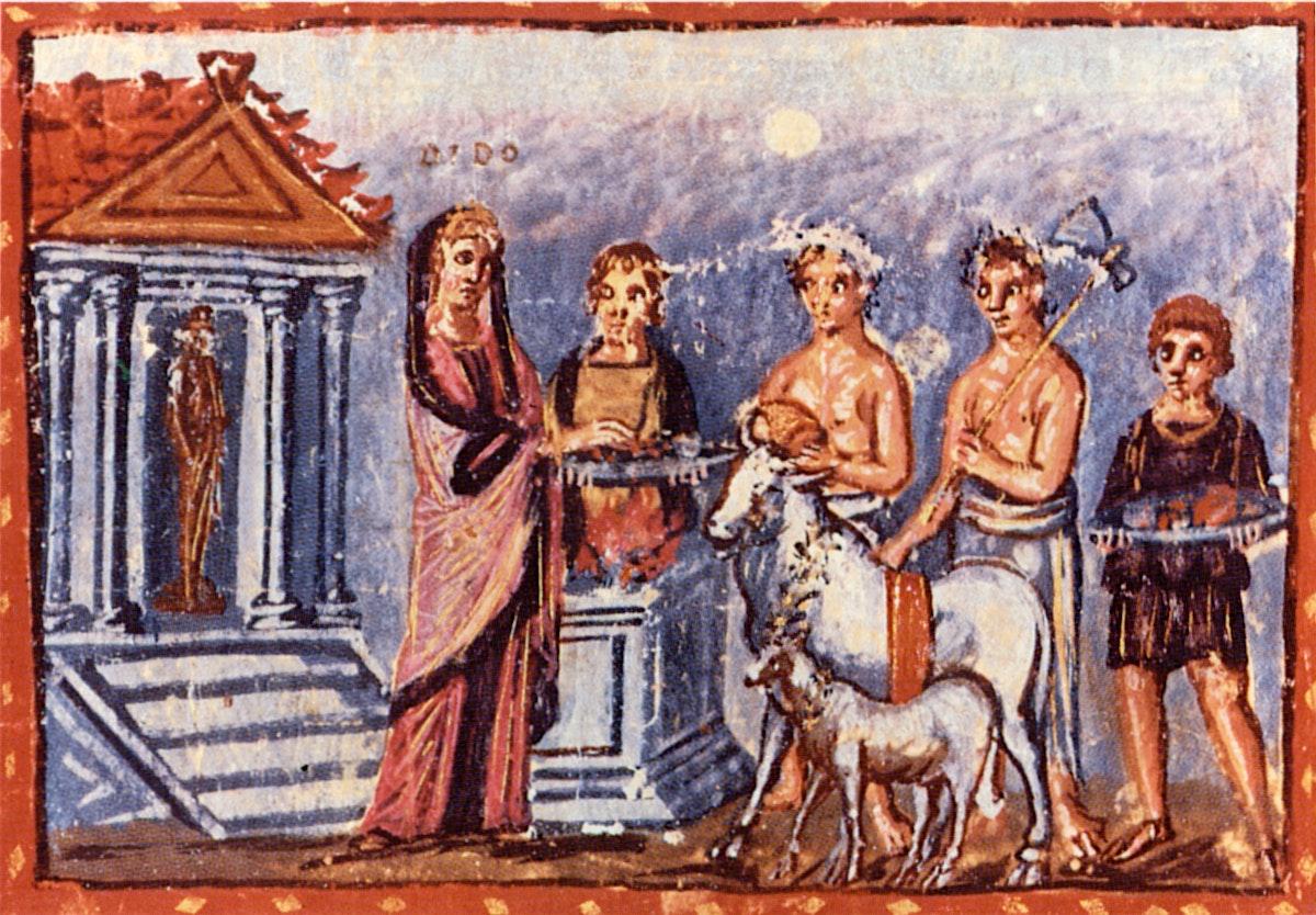Vergilius Vaticanus illustration of Dido sacrifice