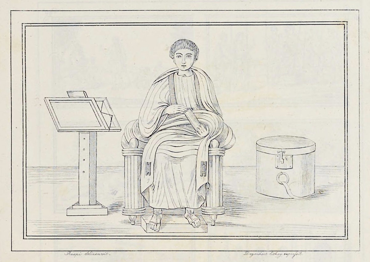 A miniature of Virgil from the reproduction of the Vergilius Vaticanus
