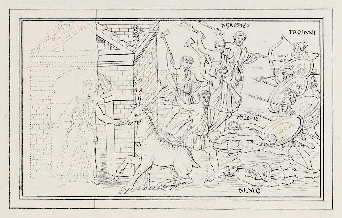 Vergilius Vaticanus reproduction of a scene fro the Aeneid
