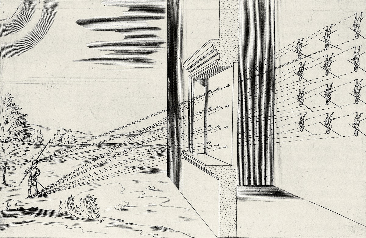A series of lines demonstrates the reproduction of an image on a wall through a camera obscura