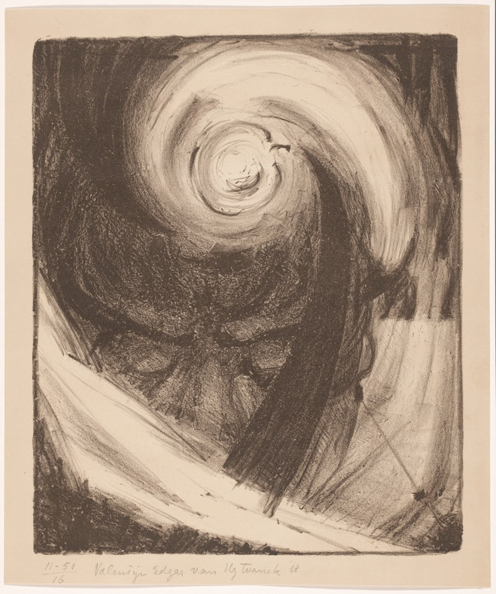 Charcoal strokes of various weights create a swirling composition