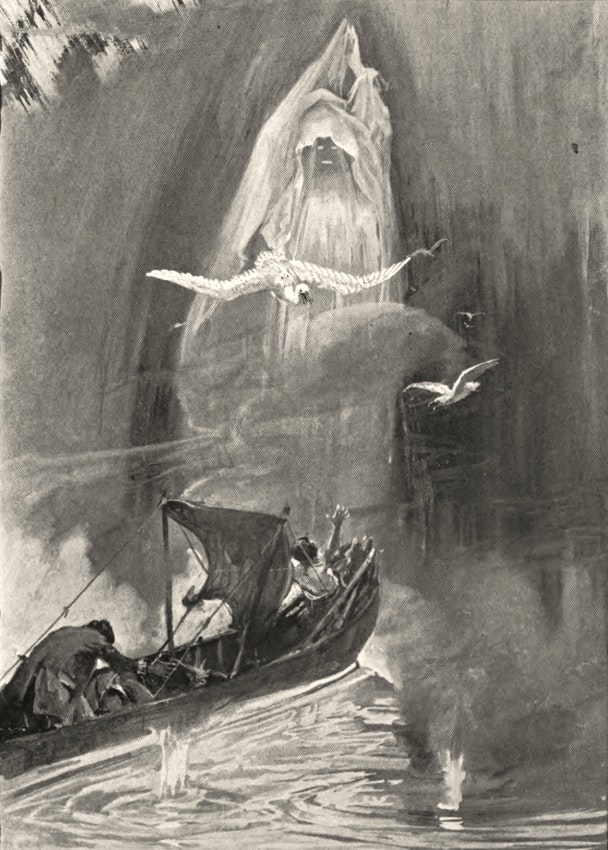 A large shrouded figure rises in the path of a small boat