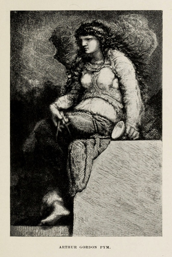 A brooding seated figure holds instruments