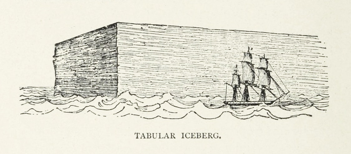 An engraving of a large rectangular prism of ice with a three-masted ship in the foreground for scale