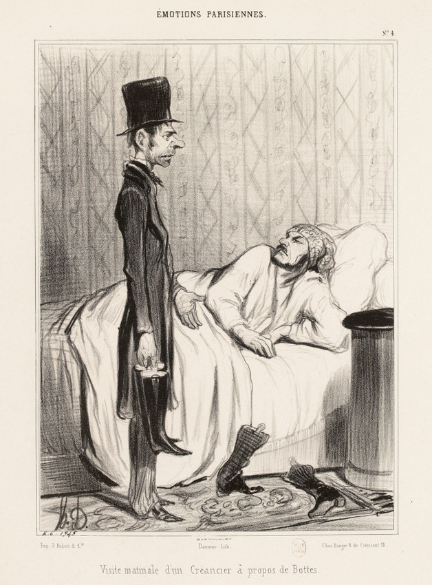 Honoré Daumier illustration, Morning visit from a creditor