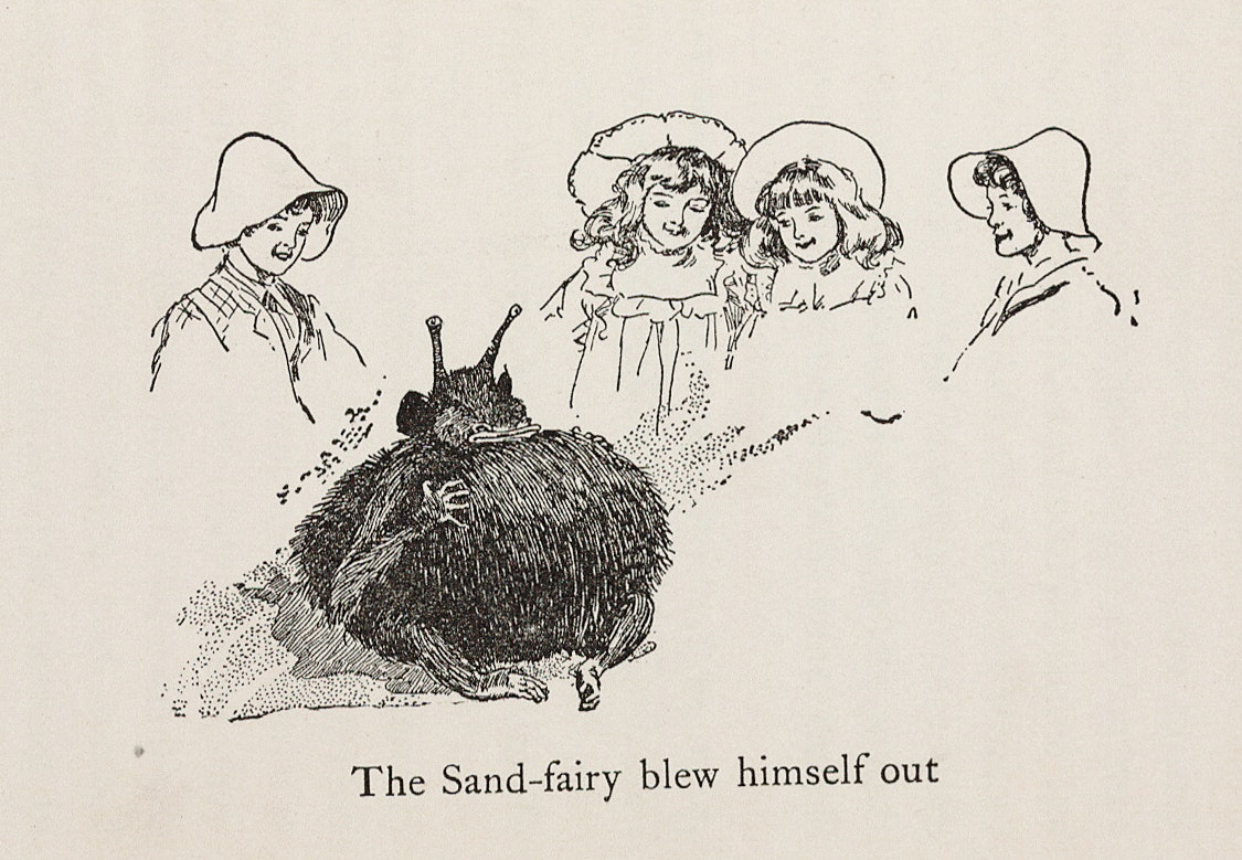 Line drawing of four girls wearing bonnets looking at a small furry creature, the Sand-Fairy