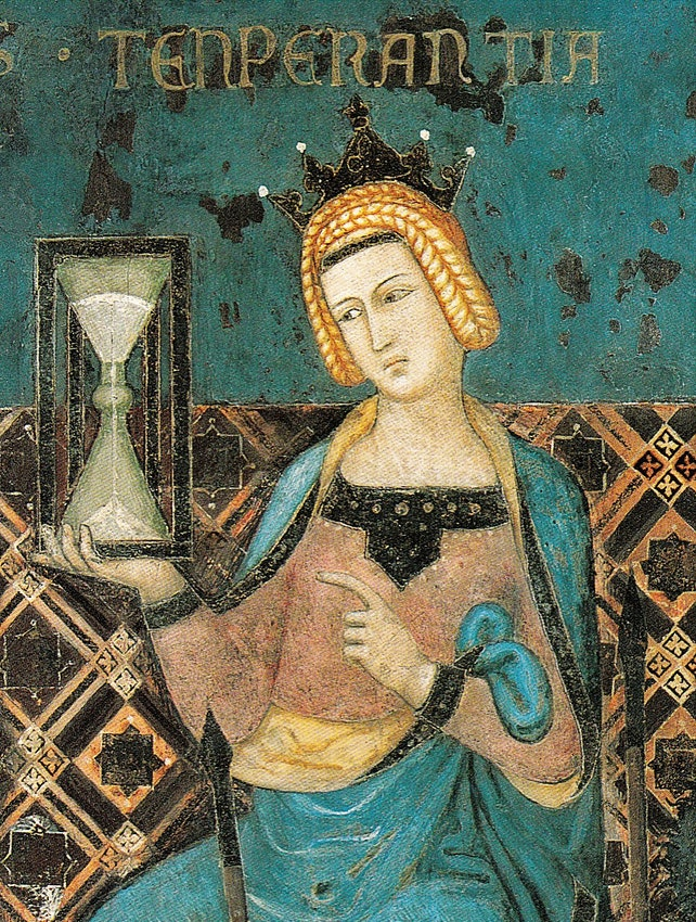 Cropped detail from fresco of human figure Temperance looking at an hourglass she holds in her hand