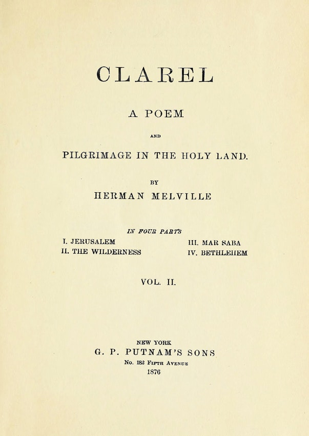 Herman Melville clarel title page