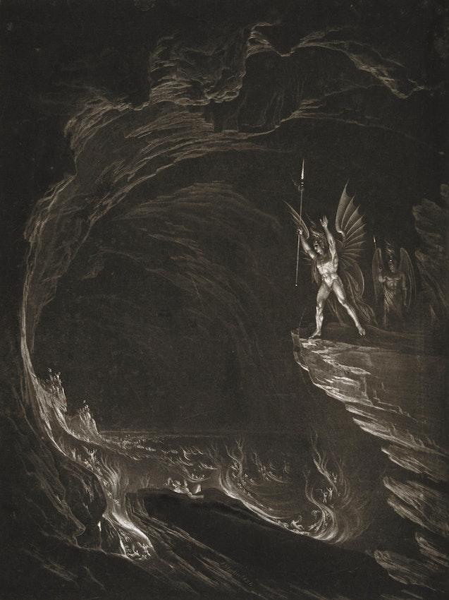 Ilustración de John Martin de Satanás despertando a sus ángeles caídos