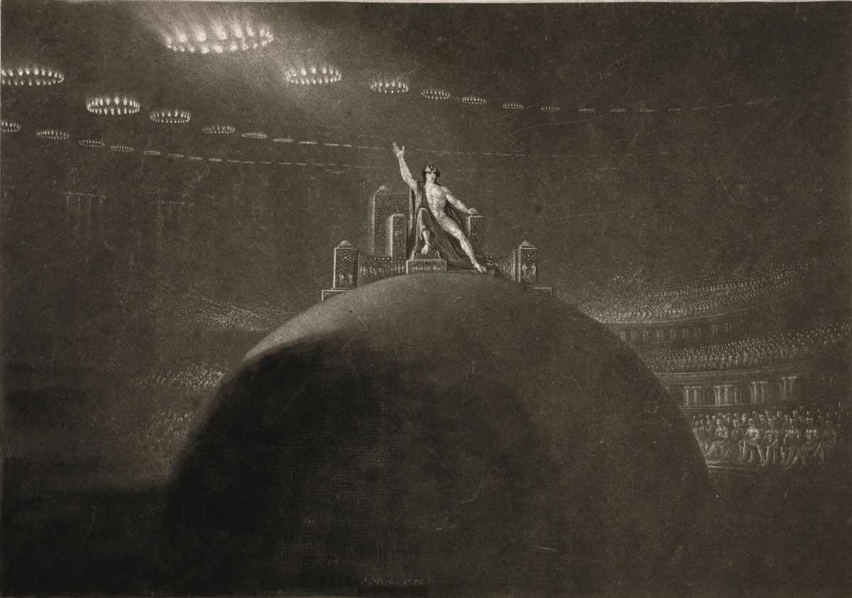 John Martin illustration showing Satan on his throne