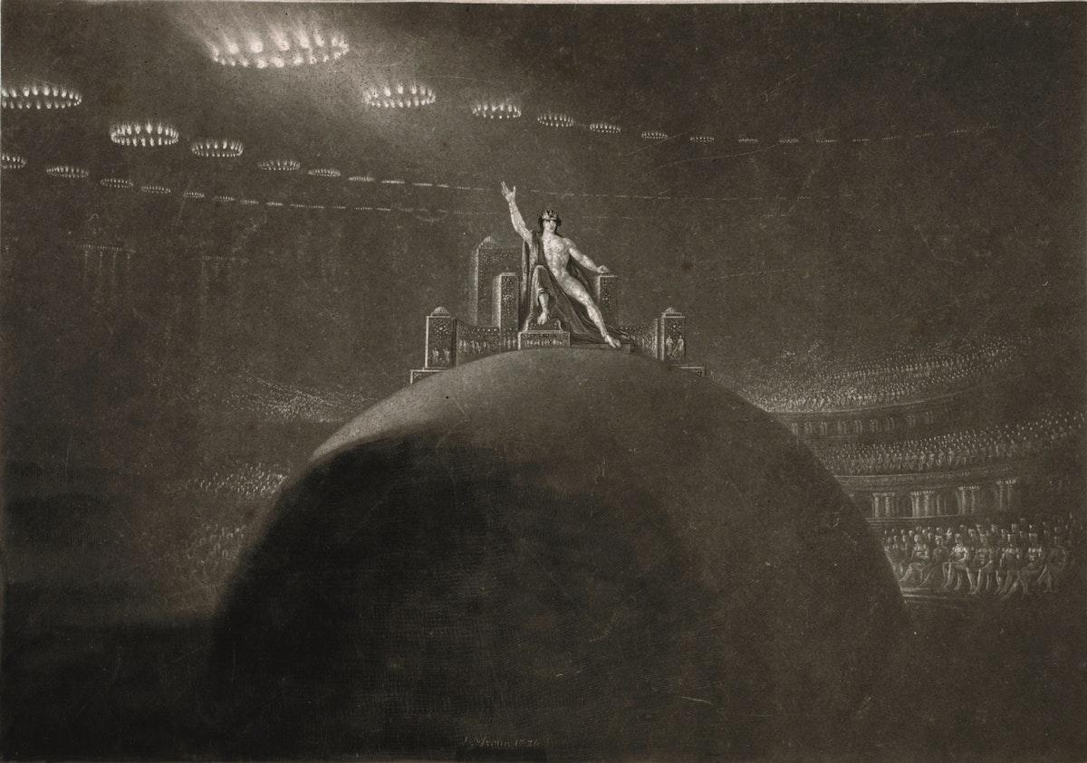 Ilustración de John Martin que muestra a Satanás en su trono