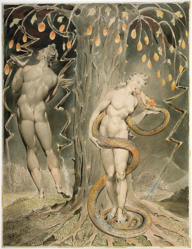 Eva aceptando la manzana de la serpiente.
