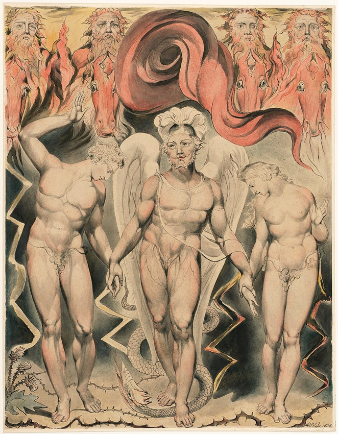 Michael leading Adam and Eve by the hand from William Blake illustration of Paradise Lost