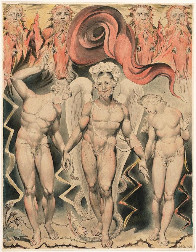 Michael guiando a Adán y Eva de la mano de William Blake ilustración de Paradise Lost