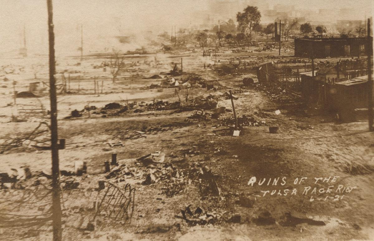 Several blocks of burned, ruined neighborhood