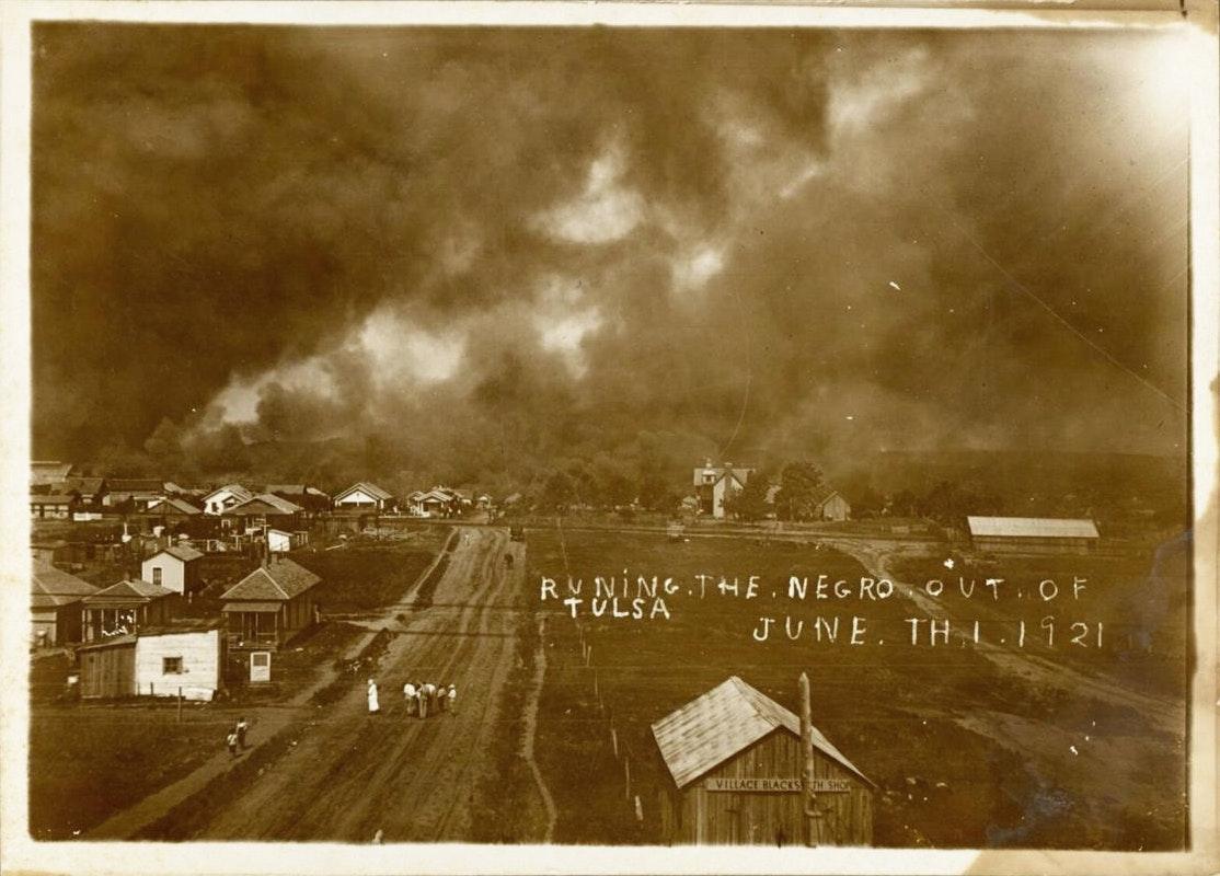 Wide view of burning neighborhood