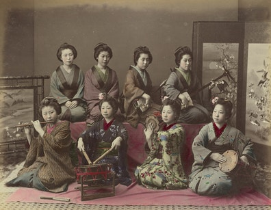 Playing Samisen, Tsudzumi, Fuye and Taiko