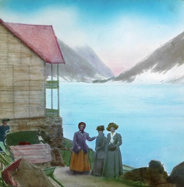 Four Women Travellers Outside Djupvasshytta Mountain Lodge