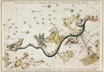 Noctua, Corvus, Crater, Sextans Uraniae, Hydra, Felis, Lupus, Centaurus, Antlia Pneumatica, Argo Navis, and Pyxis Nautica