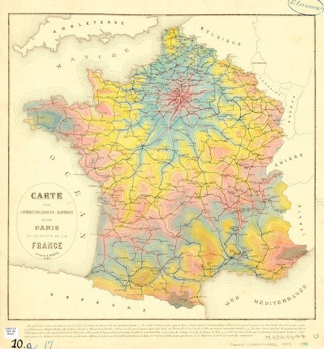 Isochrone Map of Travel Times from Paris