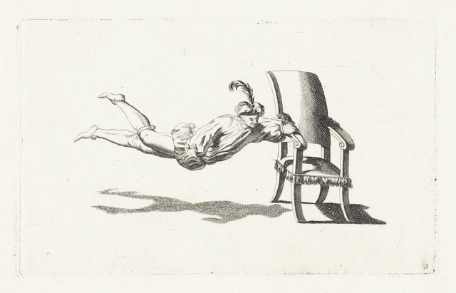 Acrobat Floating on the Arm of a Chair