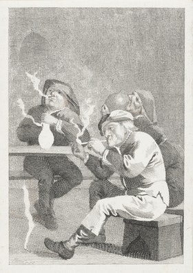 Four Men Smoking and Drinking at a Table