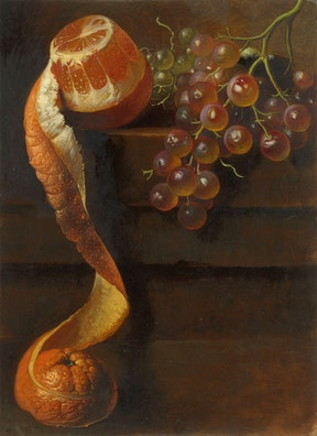 Still Life with Peeled Orange and Bunch of Grapes