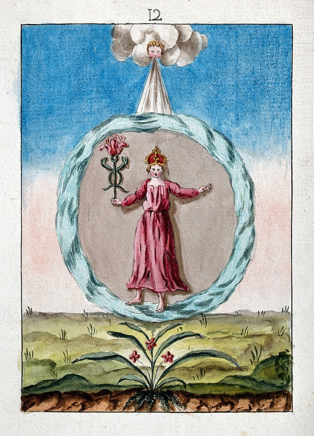 Alchemy Scene: Crowned Woman in Red