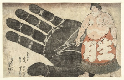 Sumo Wrestler and His Hand